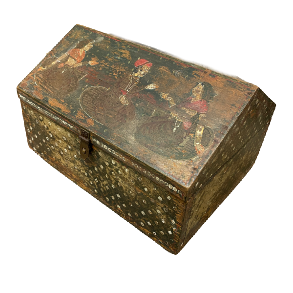 HAND PAINTED INDIAN DOWRY JEWELLERY BOX (W29CM | H18CM)