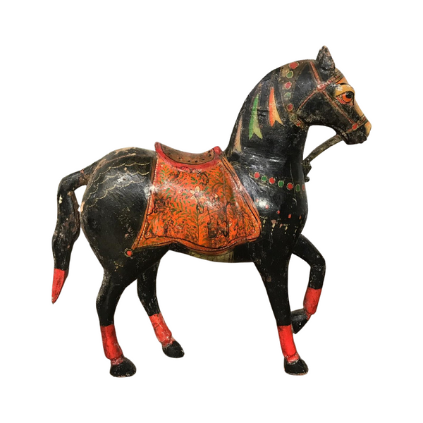 Vintage Painted Indian Horse Statue