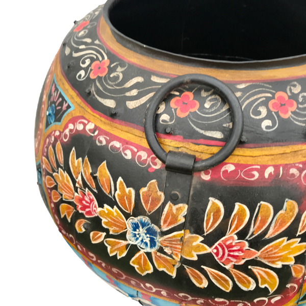 HAND PAINTED VINTAGE INDIAN METAL WATER POT | Black (Diam 50cm | H40cm)