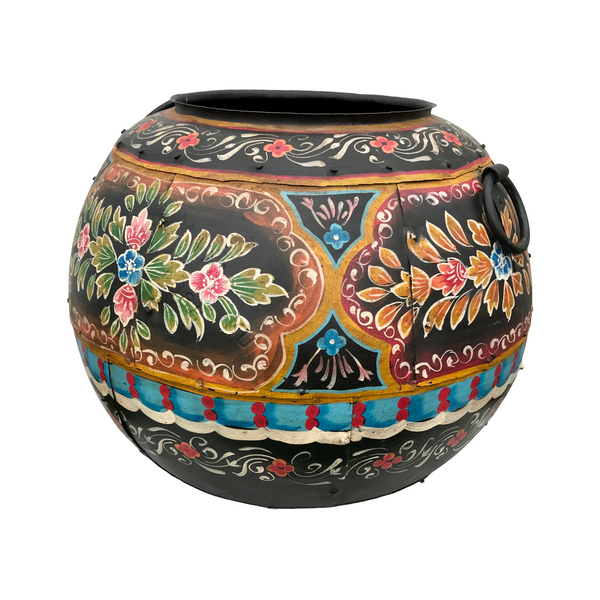 HAND PAINTED VINTAGE INDIAN METAL WATER POT | Black (M)