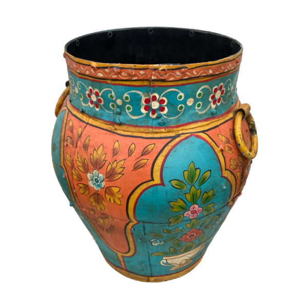 HAND PAINTED VINTAGE INDIAN WATER POT • Orange & Turquoise (H42CM | DIAM ø36CM)