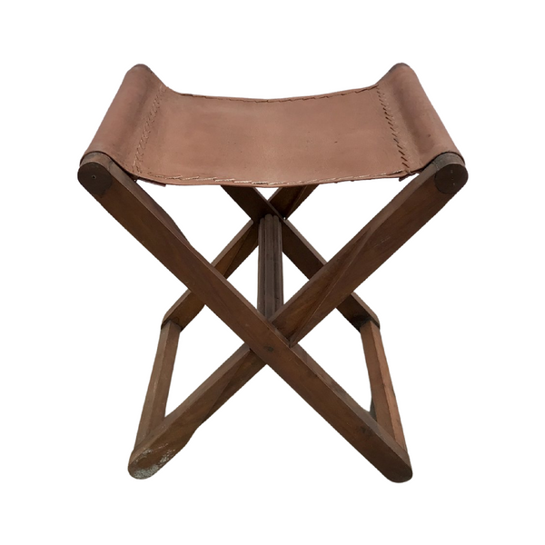 FOLDING INDIAN LEATHER STOOL (H51cm | W43cm)