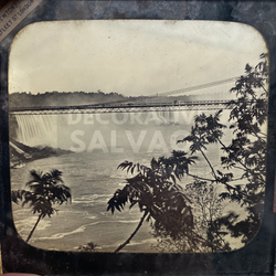 Lantern Slide | Water Falls & Bridge, Unknown Location (ca 1890s)