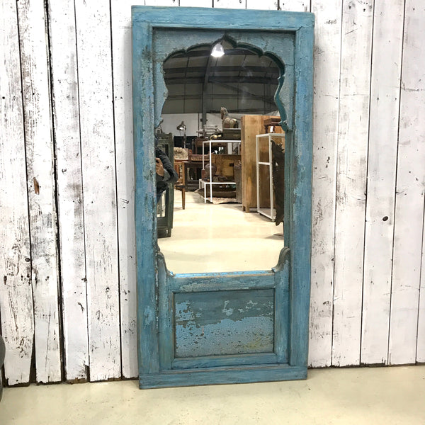 Antique Haveli Window Mirror Mihrab | Turquoise blue (H160cm | W76cm)