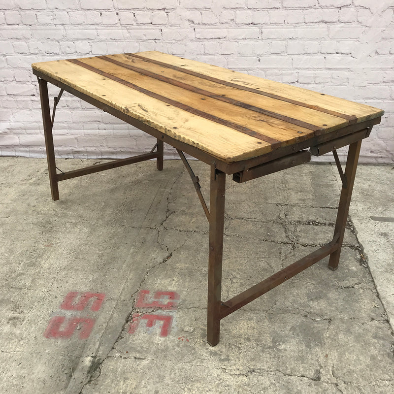 VINTAGE MILITARY DUAL HEIGHT FOLDING TRESTLE TABLE (W153CM | H77CM OR H40CM)
