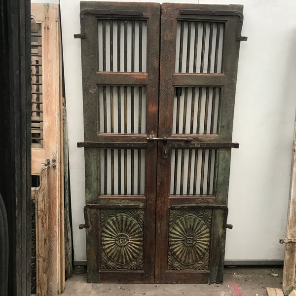 VINTAGE INDIAN TEAK & BRASS GATE