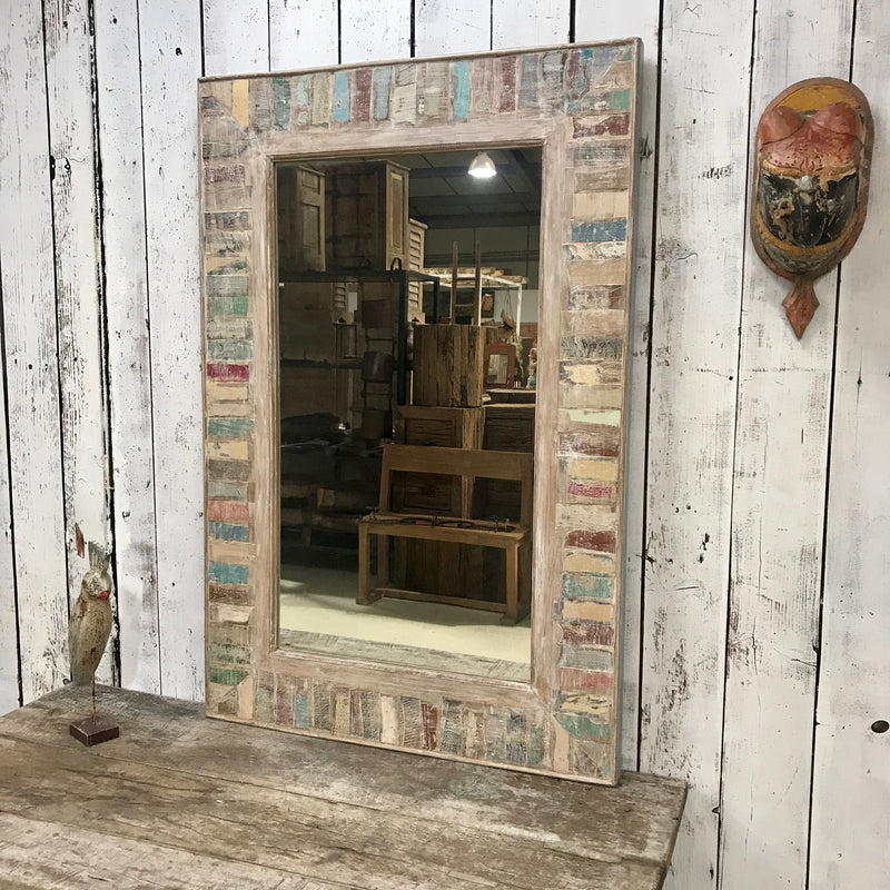 HAND CRAFTED RECLAIMED INDIAN TEAK WOOD MIRROR (H121CM | W80CM)