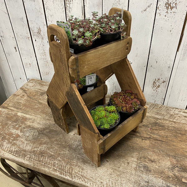 UPCYCLED VINTAGE INDIAN 3-BRICK MOULD MOBILE PLANTER | STORAGE (H60CM| W31CM)