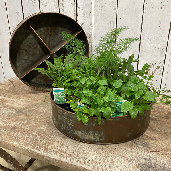 RECYCLED METAL TRAY PLANTER | ø44CM | 4 DIVISIONS