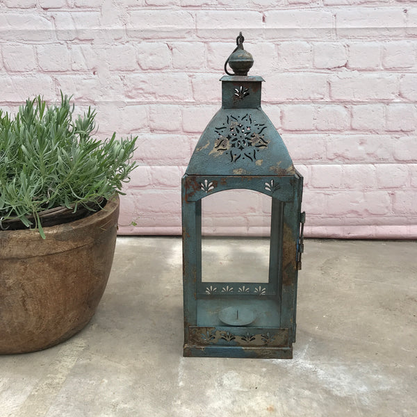 Rustic hurricane lantern with candle holder | Turquoise Blue