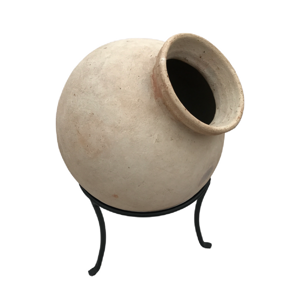 INDIAN CLAY WATER POT ON IRON STAND (DIAM Ø35CM | H51CM)