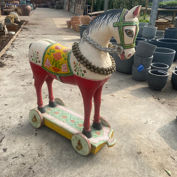 VINTAGE HAND PAINTED HORSE ON WHEELS | W66cm H83cm