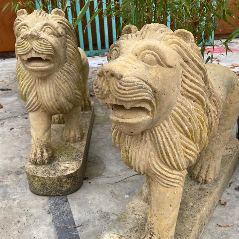 HAND CARVED STONE LION STATUE (Price for each)