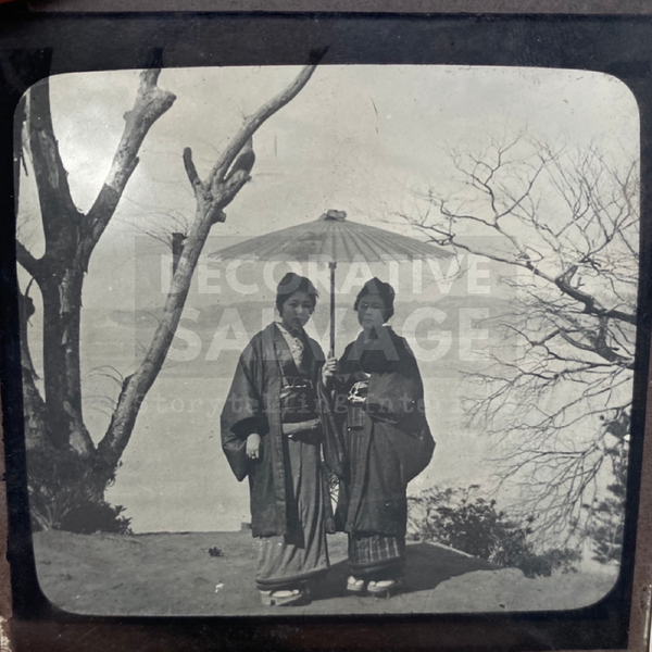 Lantern Slide | Ladies walking in winter costume, Japan (ca 1890s)