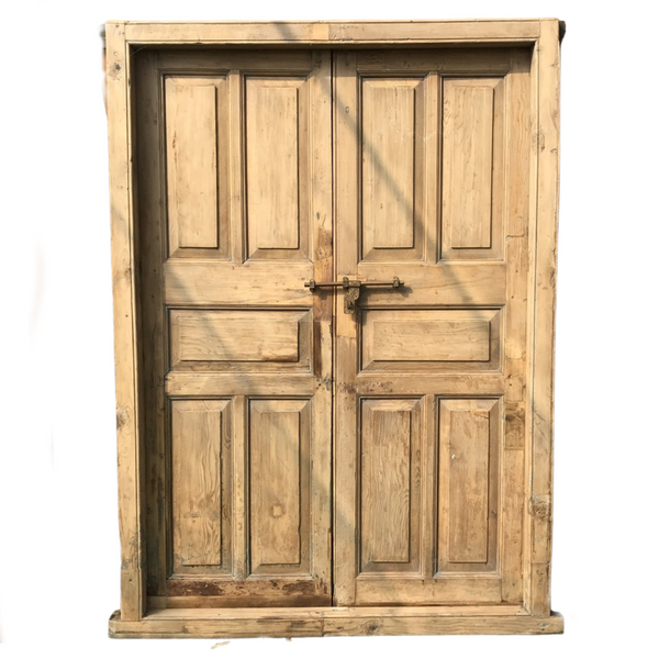 Vintage Pine Indian Door in frame (H220cm | W151cm)