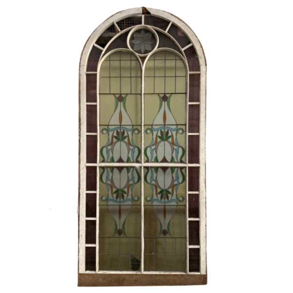 ANTIQUE ART NOUVEAU STAINED GLASS WINDOW (H300cm | W160cm)