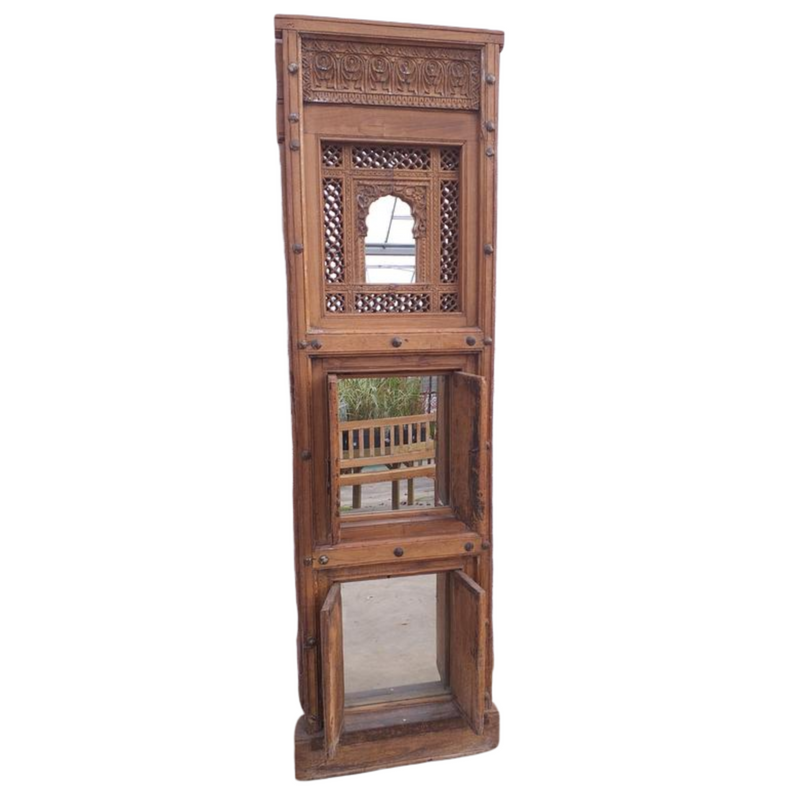 Antique Carved Teak Jali window upcycled un Floor Standing 3-Mirror (H177cm | W53cm )