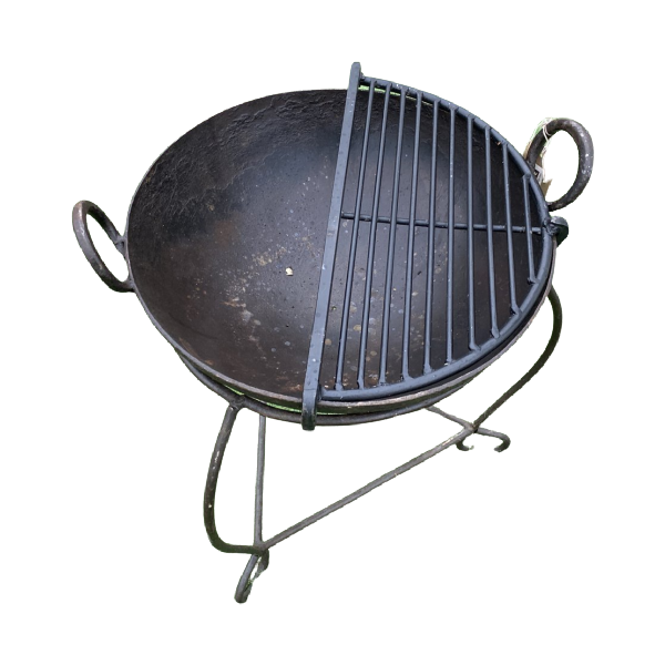 Ø40-42CM | Vintage Indian fire bowl, stand & grill