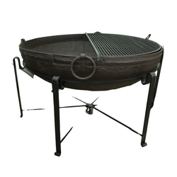 Ø120CM D37CM • Original Indian fire bowl, stand & grill