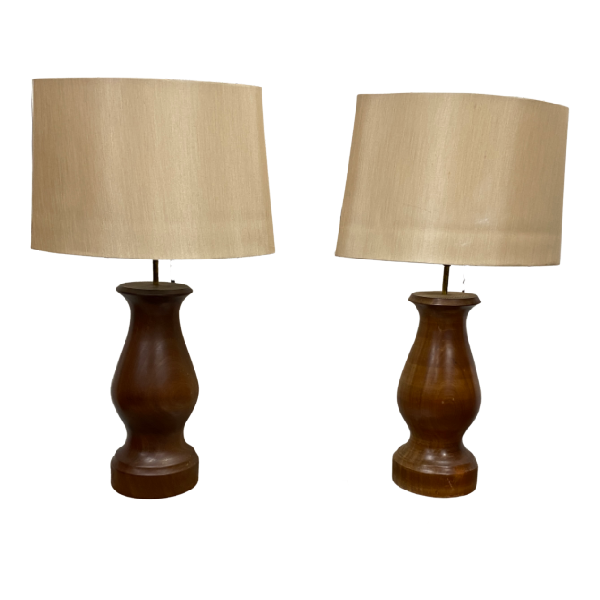 PAIR OF MAHOGANY TURNED TABLE LAMP BASES (H50CM | Ø16CM)