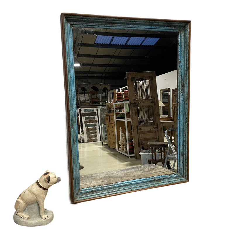 RUSTIC PAINTED INDIAN WALL MIRROR (H105CM | W79CM)