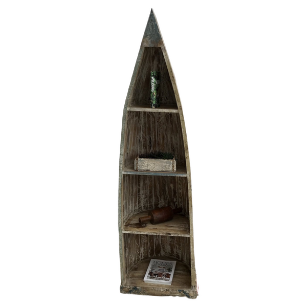 RECLAIMED INDIAN HARDWOOD CANOE STYLE BOOKCASE