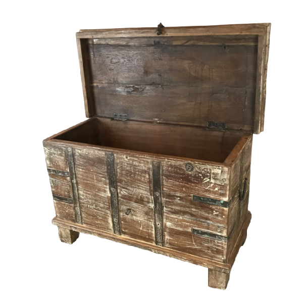 RECLAIMED INDIAN HARDWOOD CHEST METAL BANDED • W74CM | H46CM