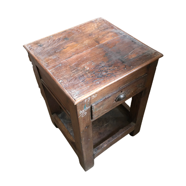 VINTAGE INDIAN SAFE TEAK TABLE (W56CM | H76CM)