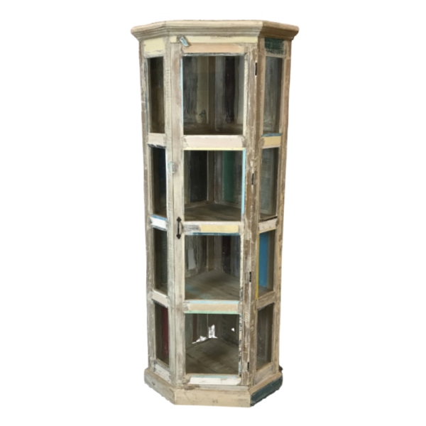 RECLAIMED INDIAN HARDWOOD GLASS CORNER CABINET (H180CM | W49CM)