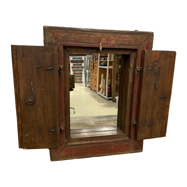 SALVAGED INDIAN WINDOW SHUTTER MIRROR | RED PATINA (H63cm | W56cm)