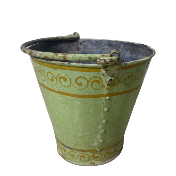 SMALL PAINTED GREEN BUCKET | Ø27CM H24M