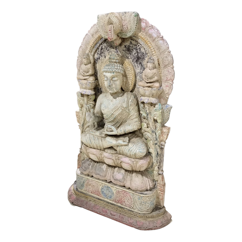 HAND CARVED & PAINTED BUDHA STATUE | TEAK WOOD (H63CM | W50CM)