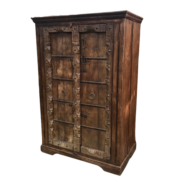 UPCYCLED ANTIQUE INDIAN DOOR WARDROBE (H190CM | W127CM)