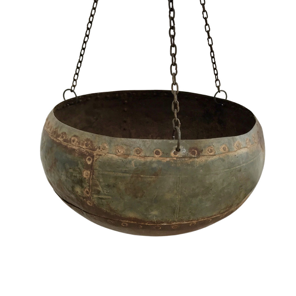UPCYCLED VINTAGE INDIAN WATER POT HANGING BASKET.