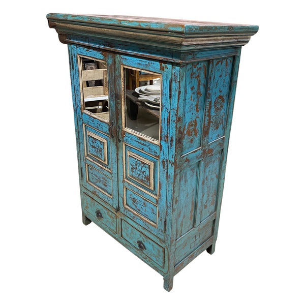 VINTAGE INDIAN MIRRORED PAINTED CABINET | BLUE TURQUOISE PATINA (H150CM | W106CM)