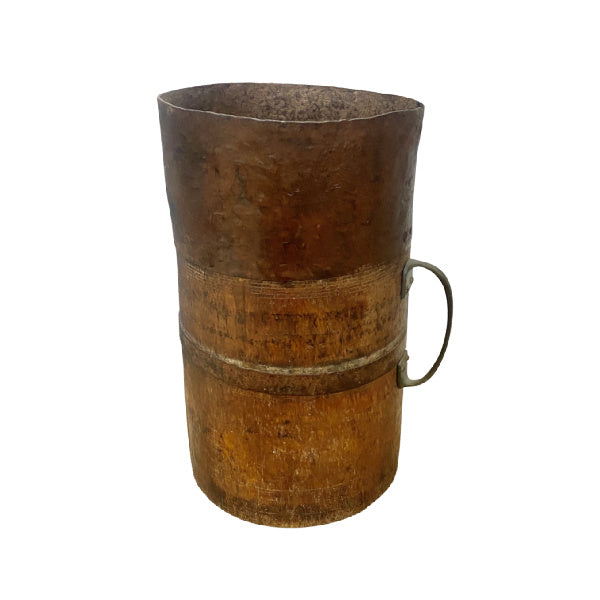 VINTAGE INDIAN WOOD AND METAL POT | H34CM DIAM Ø20CM