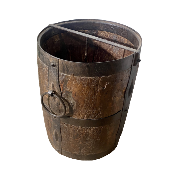 VINTAGE INDIAN WOOD BUCKET | H33CM Diam Ø24CM