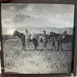 Lantern Slide | Men & Horses Outback, Unknown Location (ca 1890s)