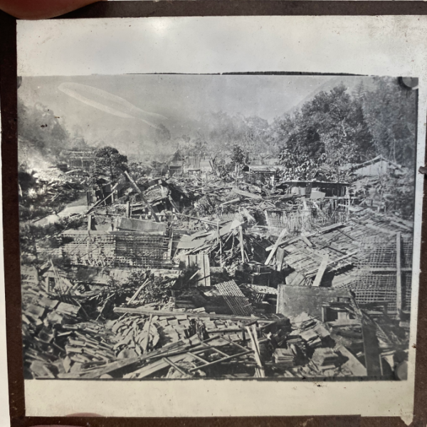 Lantern Slide | Village Destruction, Unknown Location (ca 1890s)