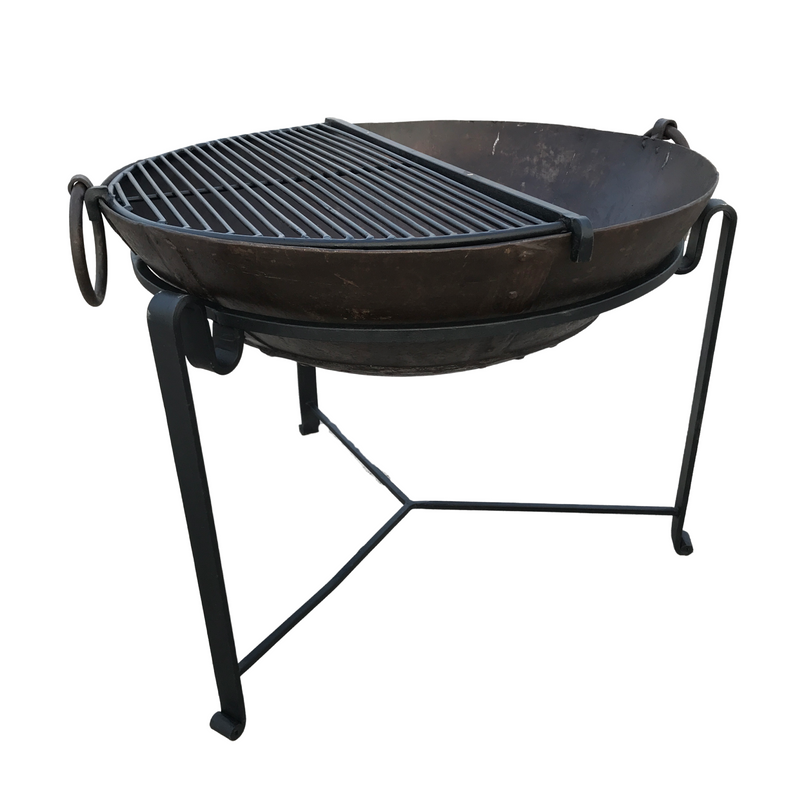 ø82CM | VINTAGE INDIAN KADAI FIRE BOWL WITH CUSTOM STAND & GRILL