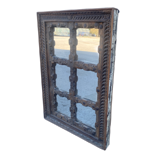 Antique Indian Jali carved window mirror