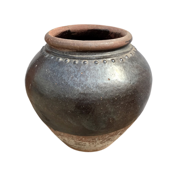 VINTAGE GLAZED CLAY POT | H33CM Ø35CM