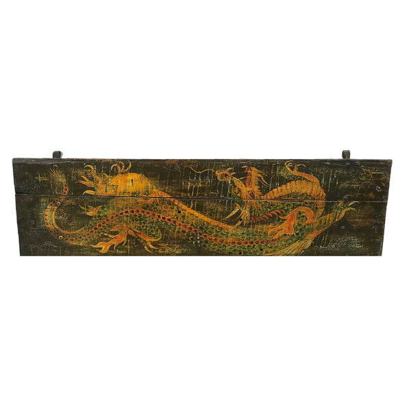 VINTAGE INDIAN HAND PAINTED DRAGON TEAK PANEL WALL DECOR (W186CM | H54CM)