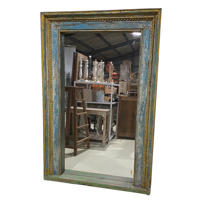 Upcycled vintage Indian door frame mirror, with blue and yellow patina