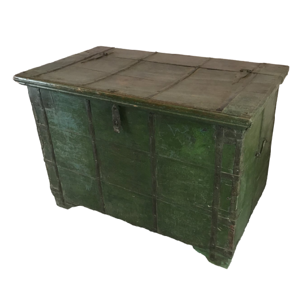VINTAGE INDIAN GREEN PAINTED MERCHANTS CHEST