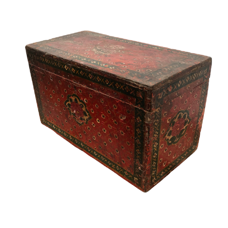 Antique Hand painted Indian box with floral motifs (W38.5cm | H24cm)