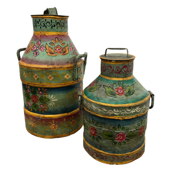 HAND PAINTED VINTAGE INDIAN METAL MILK CHURNS | 2 sizes • £60 & £75