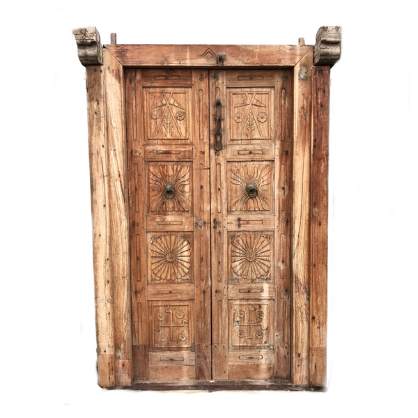 Antique Indian Carved Door in frame (H210cm | W145cm)