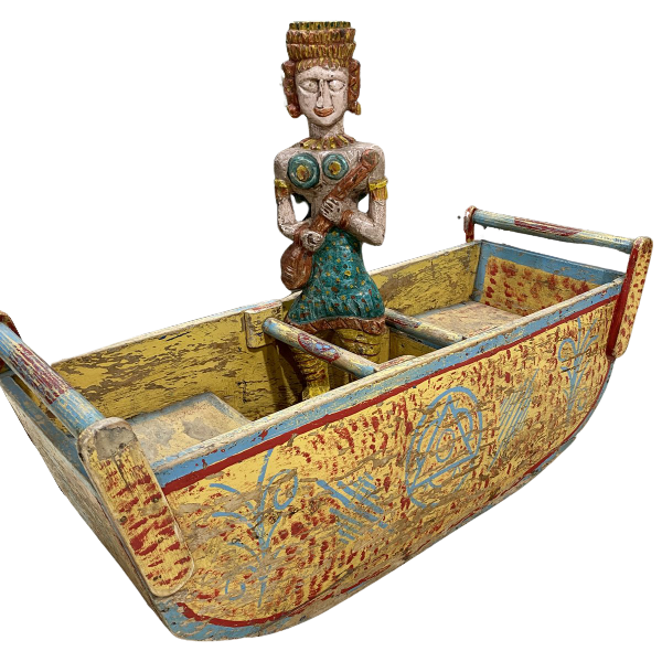 VINTAGE INDIAN PAINTED CHILD ROCKING BOAT
