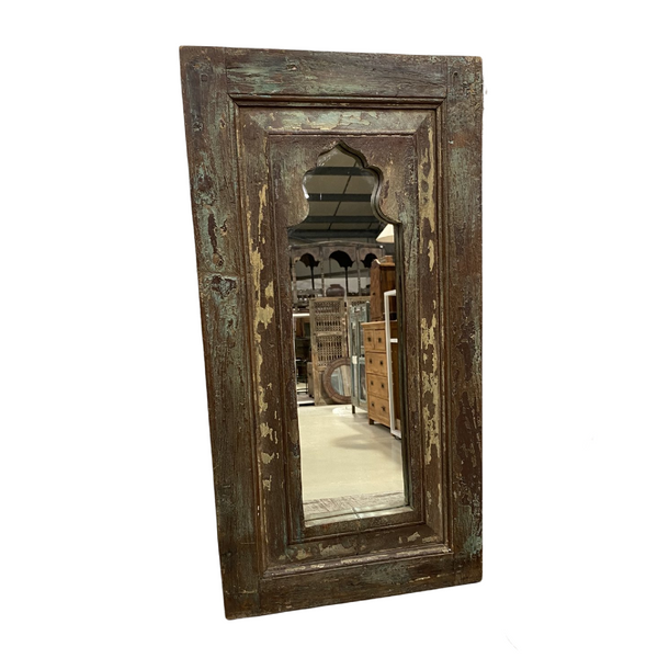 HAND PAINTED TEAK WALL MIRROR | TURQUOISE  BROWN